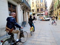 Cycling in Barcelona.