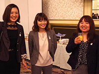 Charming smiles of website devision's member, Ms. Sato, Ms. Hasegawa and Ms. Nagahisa.