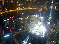 Night view of Shanghai from the top of a skyscraper.