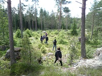 Walking through the mountain in Finland.