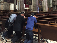 Confession in the cathedral.
