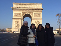 In front of Champs-Elysees Street.