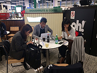 Meeting at the airport, wating for the flight.