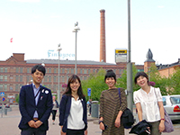 In front of the old factory of Finlayson.