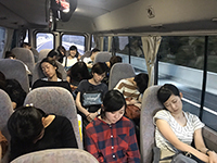 So tired that everyone slept in the bus … except some!?