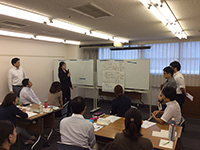 "Each group discussed about the theme regarding ""What is our mission?"", ""What is Marushin brand?"" and ""What is the customer value?"""
