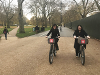 We rent bicycles and ran through the park.