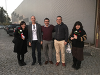 "Commemorative picture in front of towel manufacturor ""Bomdia""."