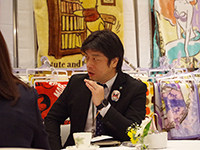 Organizing business meeting. Mr. Tagawa Manager.